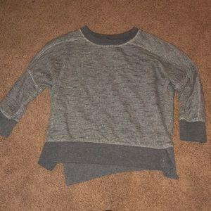 Zara cropped grey knit sweatshirt with 3/4 sleeves